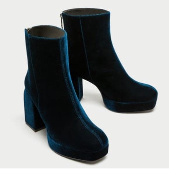 Zara Velvet Platform Ankle Boots